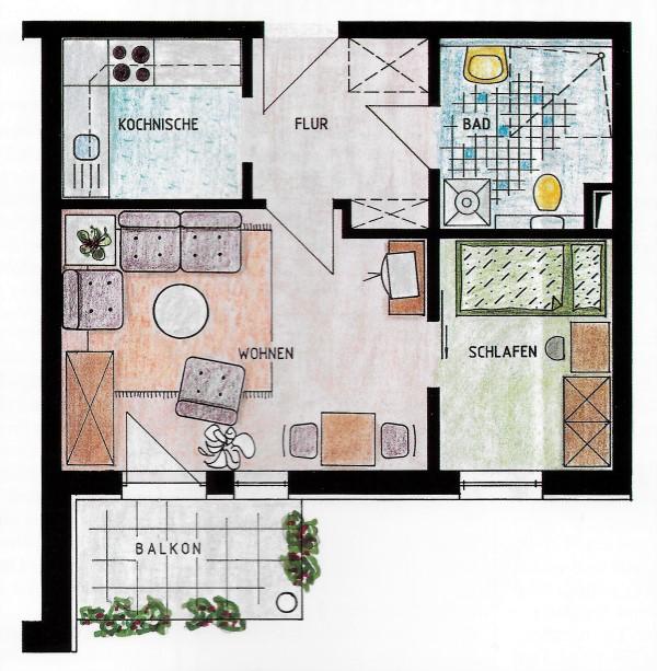 Seniorenwohnanlage Burg - Beispielwohnung 1 - Wohnung für eine Person