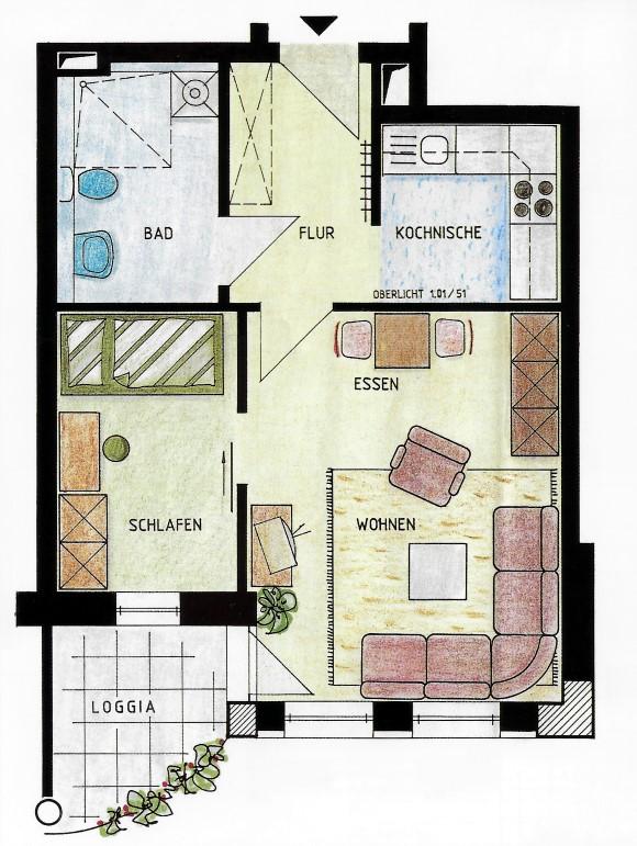 Seniorenwohnanlage Burg - Beispielwohnung 2 - Wohnung für eine Person