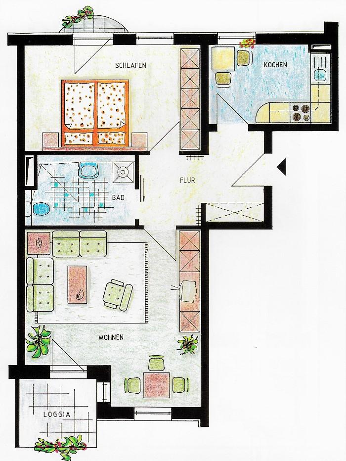 Seniorenwohnanlage Burg - Beispielwohnung 3 - Wohnung für zwei Personen