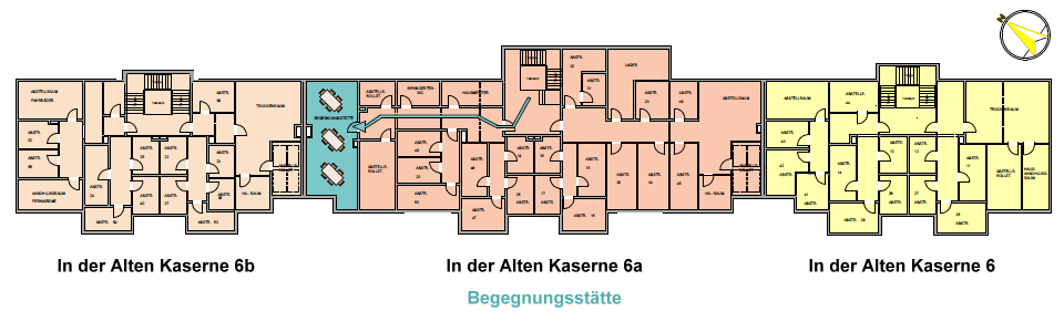 Seniorenwohnanlage Burg - Grundriss Kellergeschoss mit Lage der Begegnungsstätte